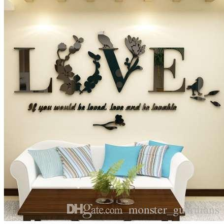 3D Yaprak Aşk Duvar Çıkartmaları Yazı Sanat Alıntı Sticker Oturma Odası Için Yatak Odası Akrilik Duvar Duvar Çıkartması Çıkarılabilir Sanat Ev Dekorasyonu