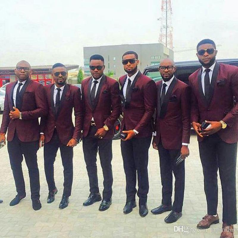 Jacket Burgundy personalizado Groomsmen Mens Suit 2 Pieces noivo Terno Slim Fit Mens Tuxedo ternos de casamento smoking para o noivo