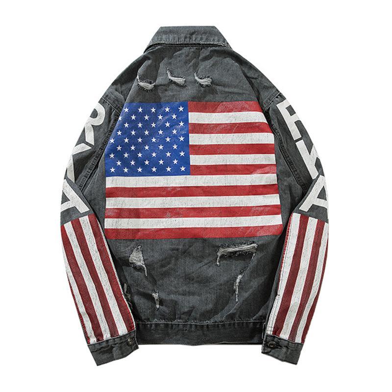 Sokotoo erkek Amerikan flage şerit yıldız jean ceket Streetwear mektuplar baskılı denim ceket Gevşek delikler yırtık giyim