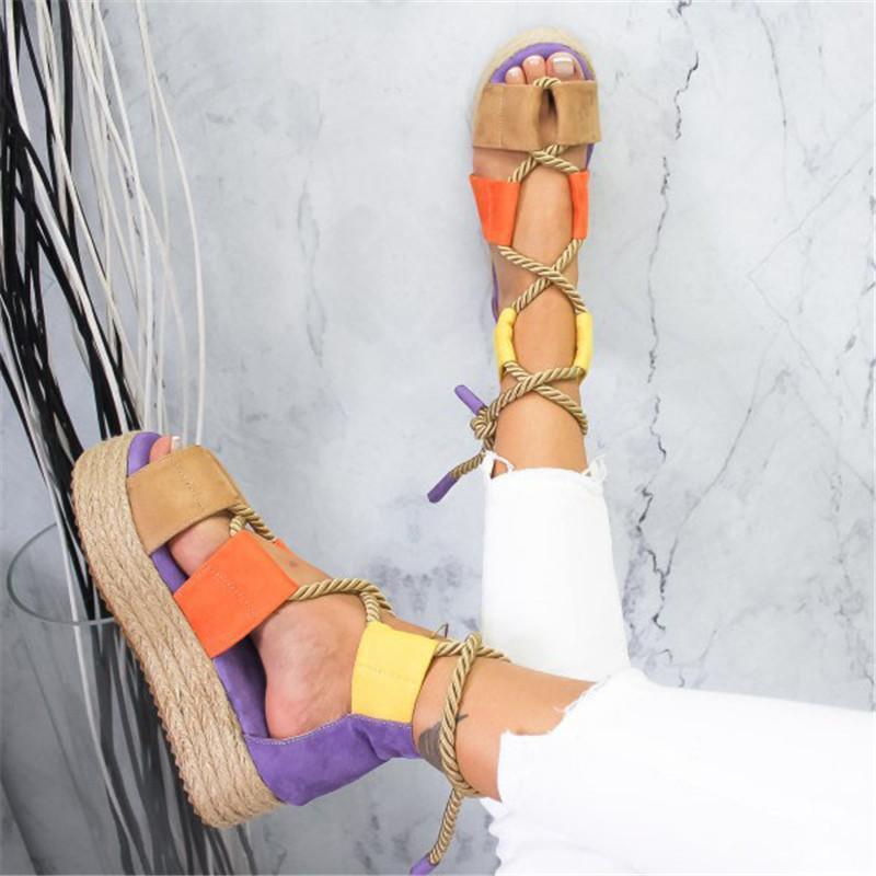 ربط عبر Torridity المرأة شقة منصة الصنادل حبل أنثى أحذية الشاطئ ربط أحذية كعب مريحة الصنادل سميكة القاع