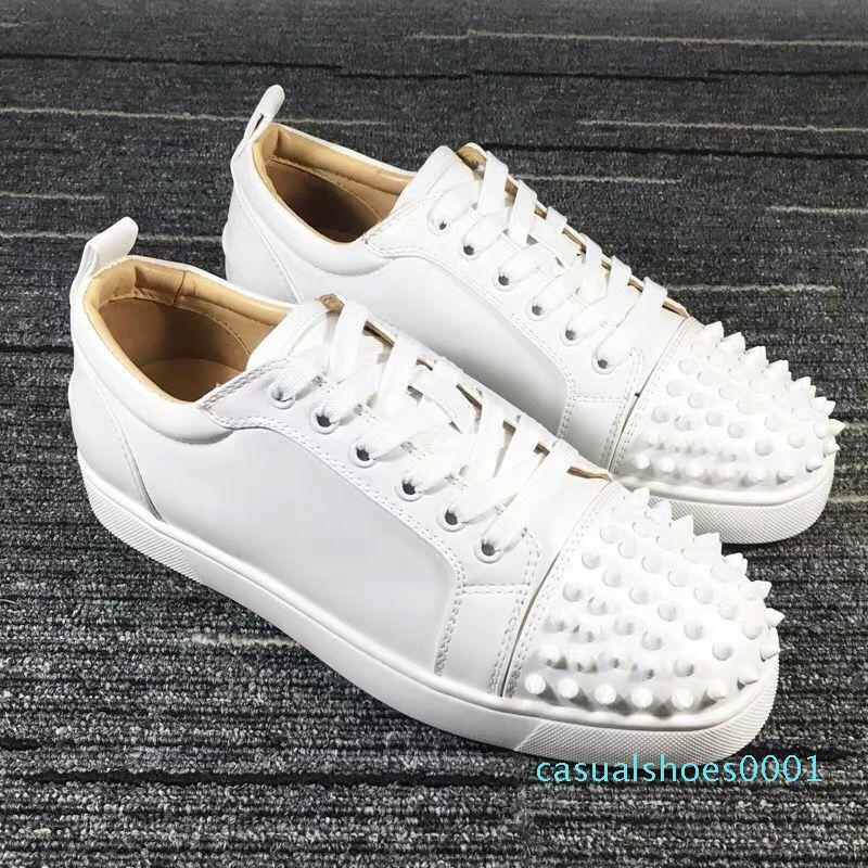 2020 Designer Sneakers Red Bottom shoe Low Cut Suede spike Luxury Shoes For Men and Women Shoe Party Wedding crystal Leather Sneakers AL22