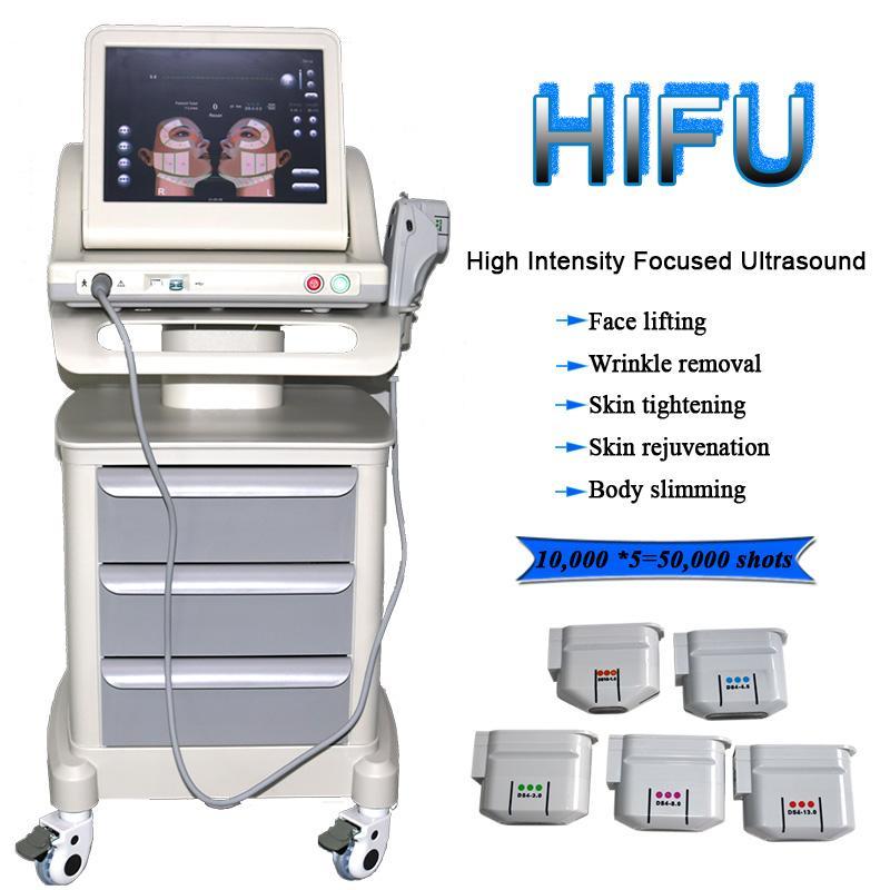 Tratamento não invasivo Anti envelhecimento Equipamento de beleza Hifu Face Levantando máquina de remoção de rugas para rosto e corpo com 5 cartuchos