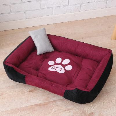 애완 동물 침대, 대형 개 집 애완 동물 둥지 개집 - 고양이 쓰레기 4 계절 따뜻한위한 발 인쇄 뼈 방수 강아지 용품 침대 시트