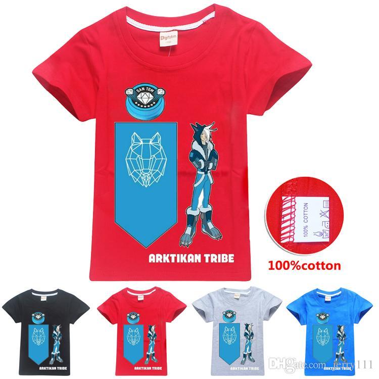 Arktikan Tribe Snow Wolf Printed Kids T-shirts 4 Colors 6-14t Boys 100% Cartoon t shirt Kids Designer Clothes Boys DHL SS290
