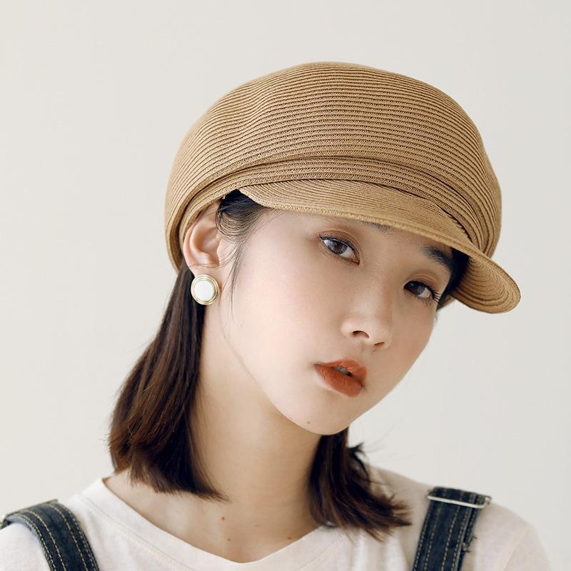 женская трава тканый солнцезащитный крем соломенный берет соломенная шляпа Приморский праздник берет темно-синий ветер солнцезащитный крем шляпа