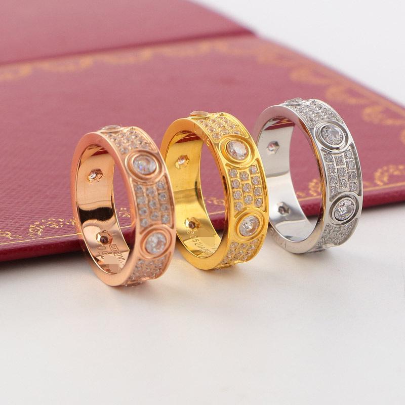 полный CZ любовь кольцо мужчин и женщин золото серебро выросли золотое кольцо для любителей пара кольца для свадьбы