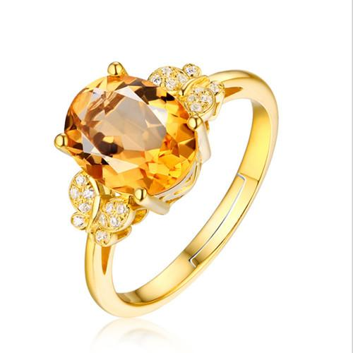 Wholesale 10 Pcs Gold Plated Honeybee Natural Yellow Citrine Crystal Resizable Finger Ring for Elegant Women Jewelry