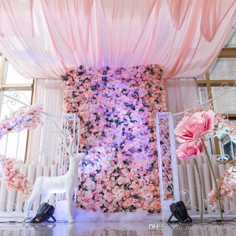 40*60 cm Artificial Rose Hydrangea Flower Wall for Wedding Party Stage and Backdrop Decoration Freeshipping 2019