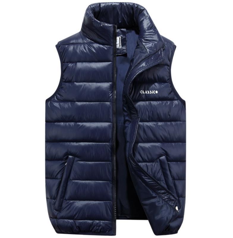 Herbst Winter plus Größen ultra dünn Daune Baumwolle Kugelweste Jacke Mäntel Herren Reißverschluss High Hals Gilet S Jacke mit Taschen S-6XL