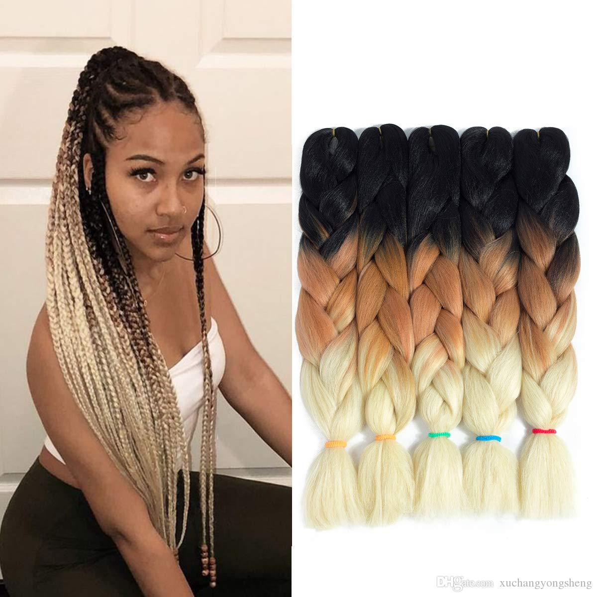 24Inch 100g/Pack Kanekalon Jumbo Box Braiding Hair Extensions Ombre Kanekalon Jumbo Crochet Box Braids Hair