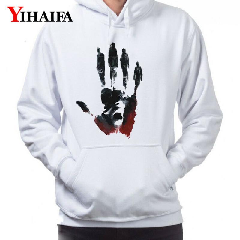 Mens 3D Hoodies Ink Große Hand gedruckte Grafik Sweatshirts Streetwear Langarm Pullover Unisex Tops Weiß Casual Trainingsanzug