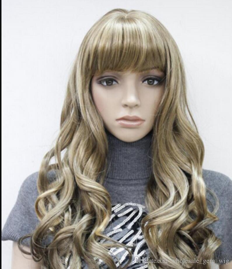 Peluca envío gratis nuevas mujeres señora peluca de pelo largo rizado sintético Anime Cosplay fiesta pelucas completas