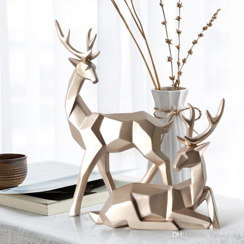 Nordic Estilo creativo 3D Solid Geometry suerte ciervos Adornos Arte de la resina del equipamiento casero para el regalo de la decoración de escritorio de oficina Figurines