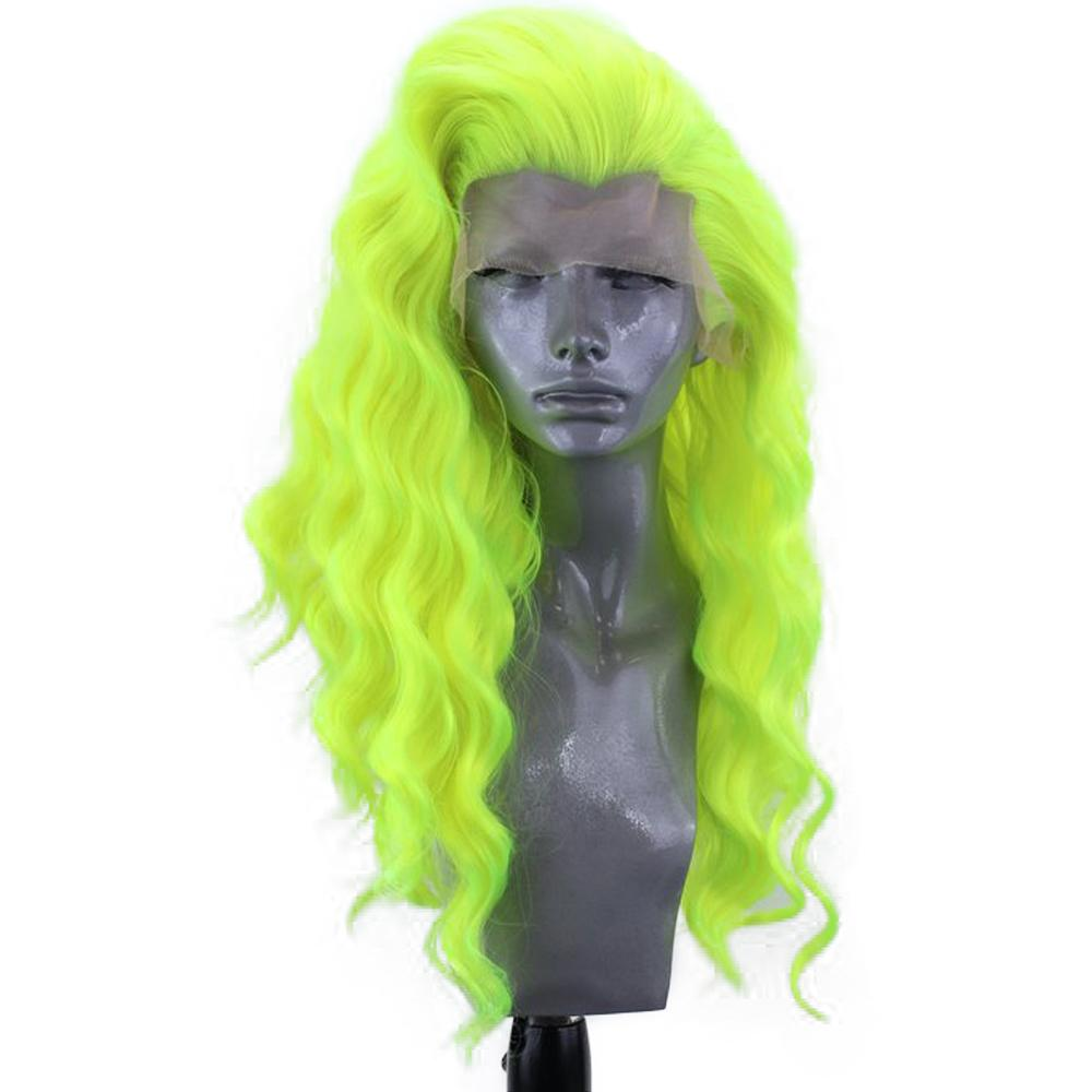 Хэллоуин Стиль Длинные Свободные Волны Парик Светло-Зеленый Косплей Цвет Термостойкие Волосы Синтетические Кружева Фронт Парики Для Женщин С Естественной Линией Роста Волос