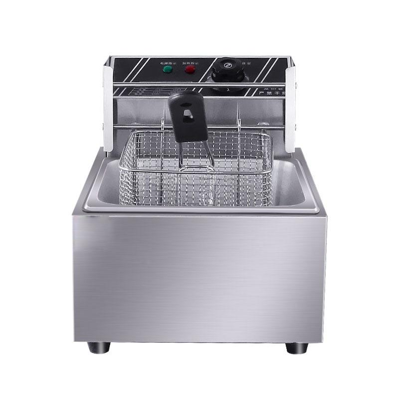 FREE SHIPPING Wholesale Automatic Commercial Stainless Steel one tank one basket 6L Electric Deep Fryer for Sale