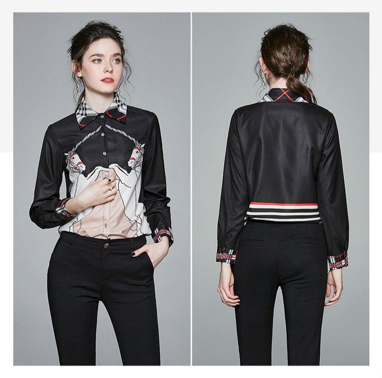 Yeni 2020 Moda Tasarımcısı Şık Gömlek Kadınlar Pist Uzun Kollu Yaka Boyun Casual Bayanlar Düğme Gömlek Bluz Baskılı Büro Gömlek Tops