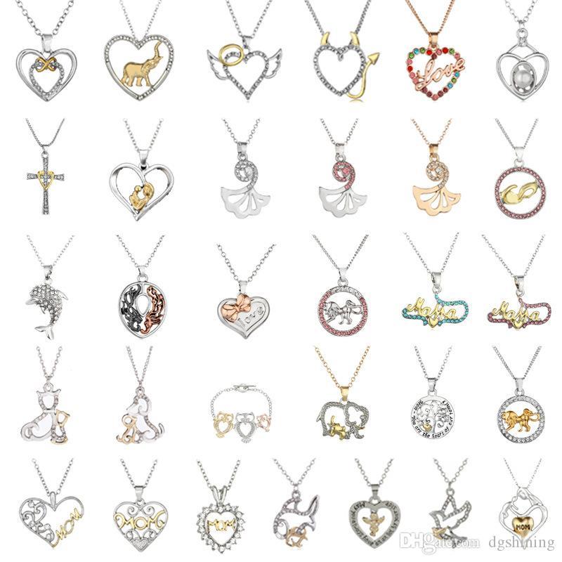 Heart Chain link coração pingente de diamante colar de moda Hot Ladies bonito liga de zinco Mulheres presente Choker Collares