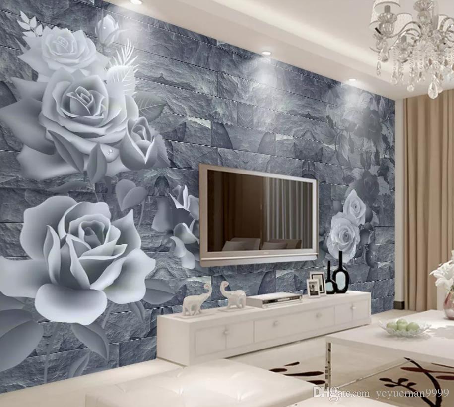 2019 مخصص خلفية ديكور المنزل خلفية جدارية 3d تنقش الزهور التلفزيون جدار جدارية 3d خلفيات