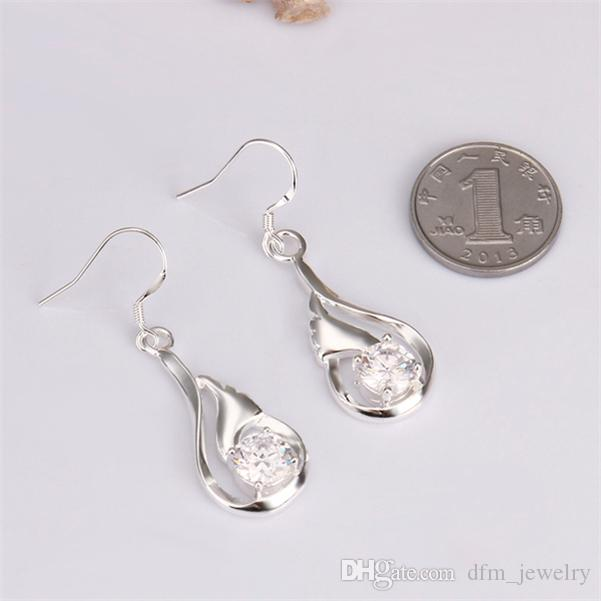 Kaplama gümüş Su içi boş elmas küpe DJSE261 boyutu E droplets: 4.2X1.3CM; kadın 925 gümüş tabak Charm takı küpe