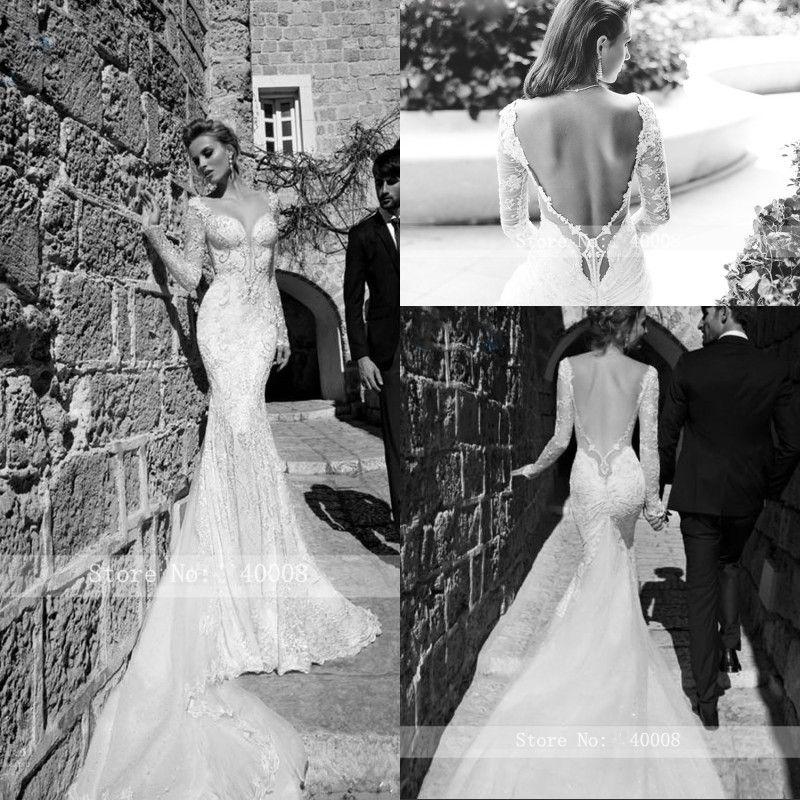 Backless cappella treno sexy scollo a V abito da sposa Mermaid 2020 della perla del merletto perline manica lunga Vestige De Noiva vestito da sposa