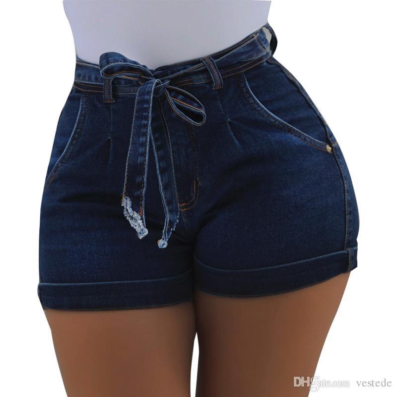 벨트 엉덩이 데님 반바지 숙녀 여름 섹시한 슬림 탄성 패션 단색 데님 반바지 여성 디자이너 바지
