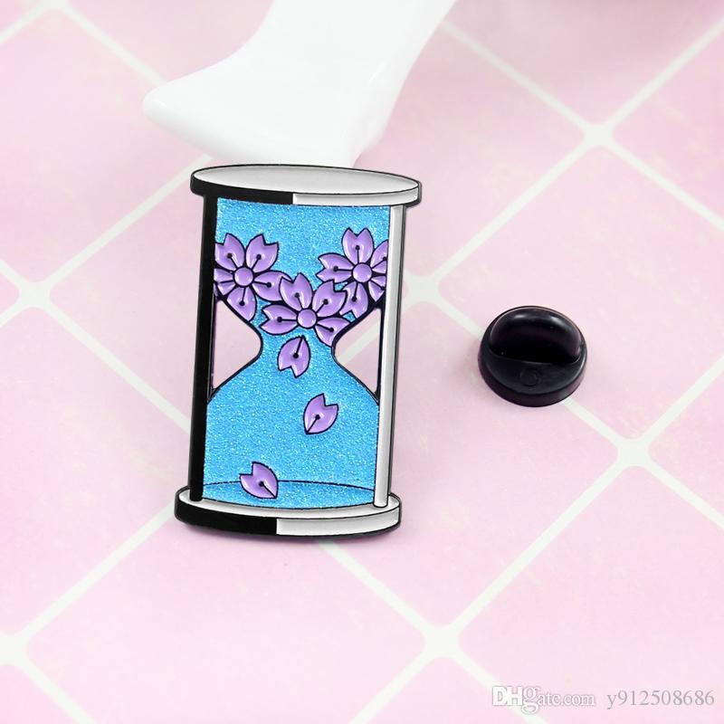 Springtime в Японии голубых песочных часов броши пурпурных лепестки падает из бутылки Romantic ювелирных изделий значка дамы очарование
