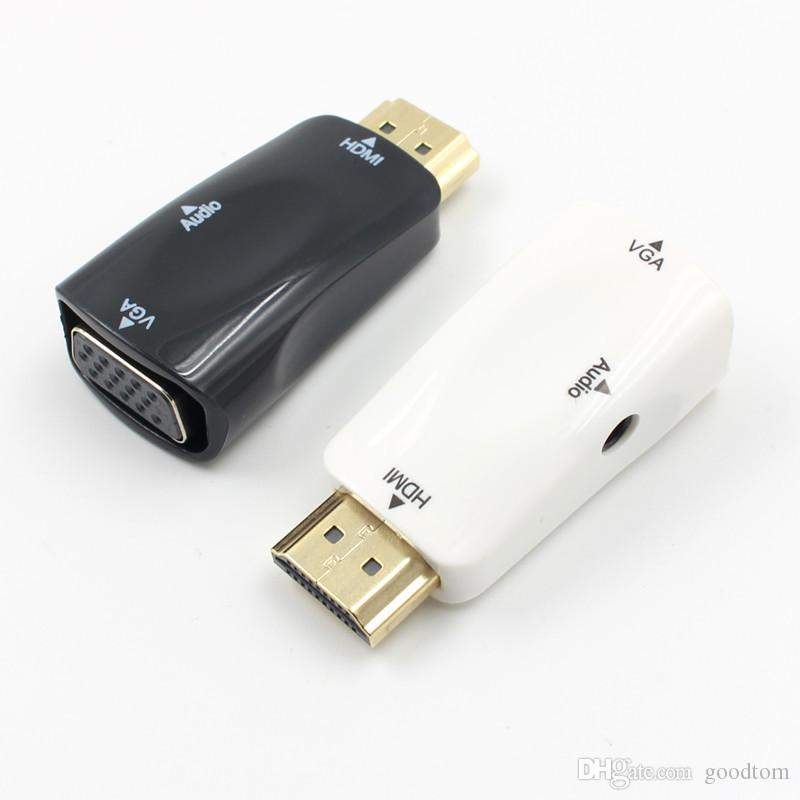 HDMI to VGA Adapter Converter Male to Female with 3.5mm Audio AUX Jack Output for PS3 Xbox 360 PC Laptop HDTV 1080P