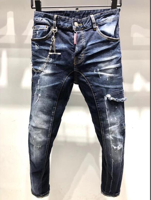 HOT Itália ícone clássico forma homem Jeans Hip Hop Mens Casual Designer jeans rasgado afligido Skinny Jeans Biker Jeans calças dos homens top 367