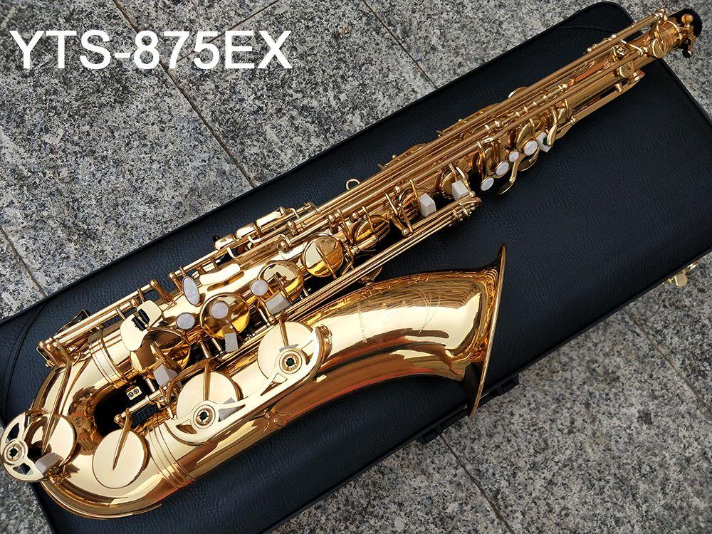 Giappone Marca sassofono tenore YTS-875EX B Flat laccata oro ottone sax tenore ottone sax tenore Ottone Riproduzione di musica con il caso dello strumento