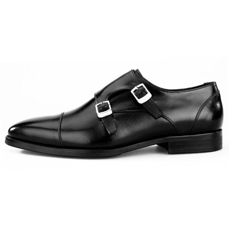 O dobro dos homens Monk Strap formais Shoes Genuine Designer Couro Toe Praça mocassim Flats Negócios Oxford Sapato Masculino social