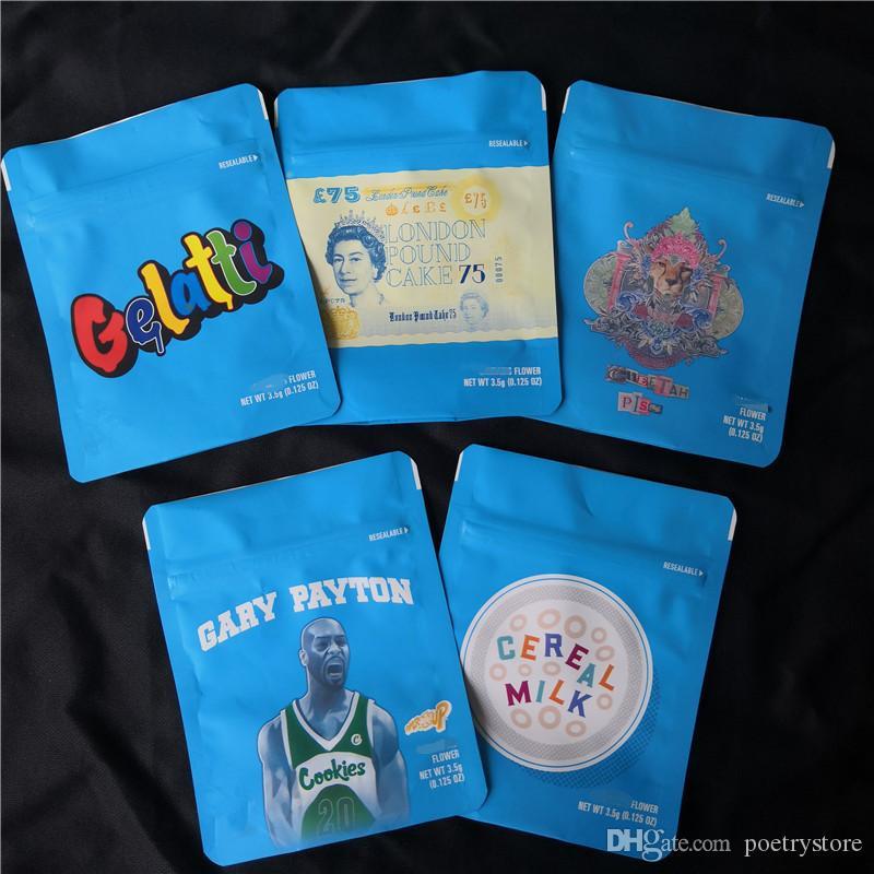 쿠키 캘리포니아 SF 8th 3.5g Mylar Childproof 가방 420 포장 Gelatti 시리얼 우유 게리 페이튼 쿠키 가방 크기 3.5g-1 / 8 가방