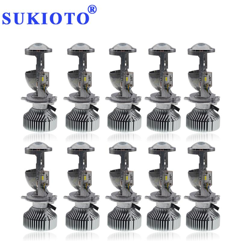 SUKIOTO 10PCS UPGRADE G9 Hallo / Lo H4 LED-Mini-Objektiv 45W 10000LM LED-Scheinwerfer-Projektor Kit h4 5500K Groß Hoch Abblendlicht Cut