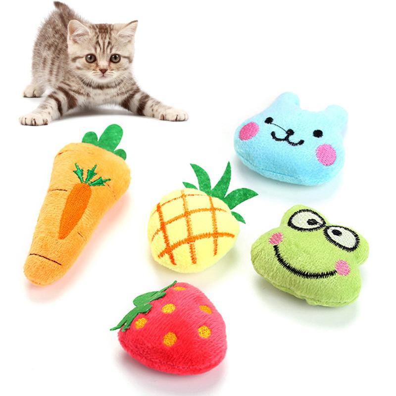 Nuova vendita calda creativa del gatto della famiglia Zecca Giocattolo animale Frutta Modellazione della bambola della peluche del gatto Masticare bambola di trasporto