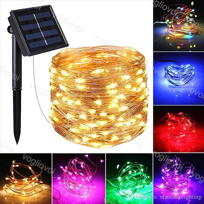 Solar Lights Jardim Branco Quente 100Leds 200leds festa de aniversário do feriado do fio de cobre Fada LED Cordas 10M 22M 2Model Para Decoração DHL