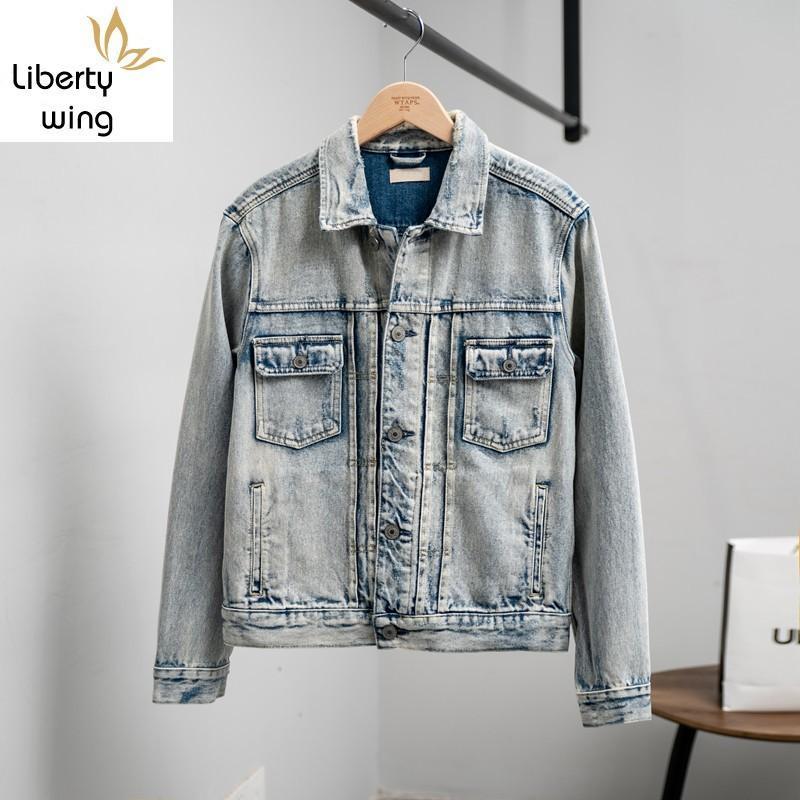 Mens di alta qualità vintage denim lavato casuale Streetwear monopetto Breve Slim Fit Cowboy Jean del cappotto del rivestimento di Hip Hop