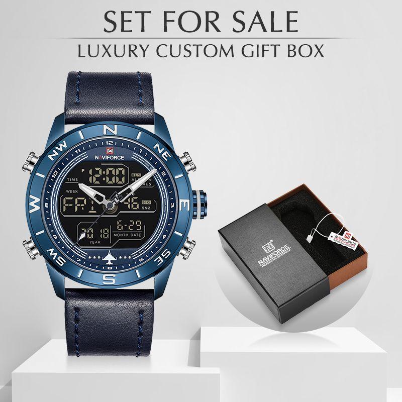 ساعات رجالي أعلى العلامة التجارية Naviforce الأزياء الرياضة ووتش الرجال للماء كوارتز ساعة اليد العسكرية مع مربع مجموعة للبيع