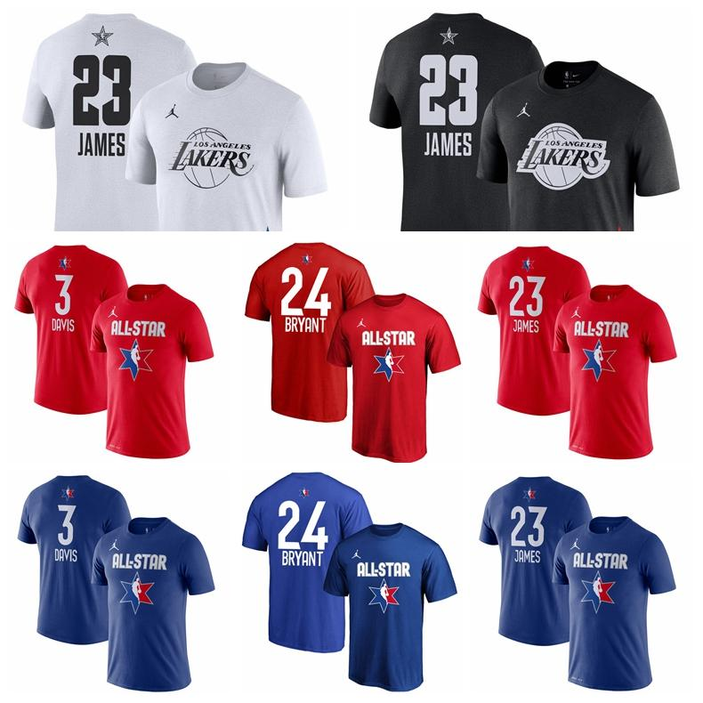 LeBron James Anthony 23 Davis 24 KB Los AngelesLakersHomens 2020 All-Star Nome do Jogo Número jogador de basquetebol T-shirt azul Vermelho