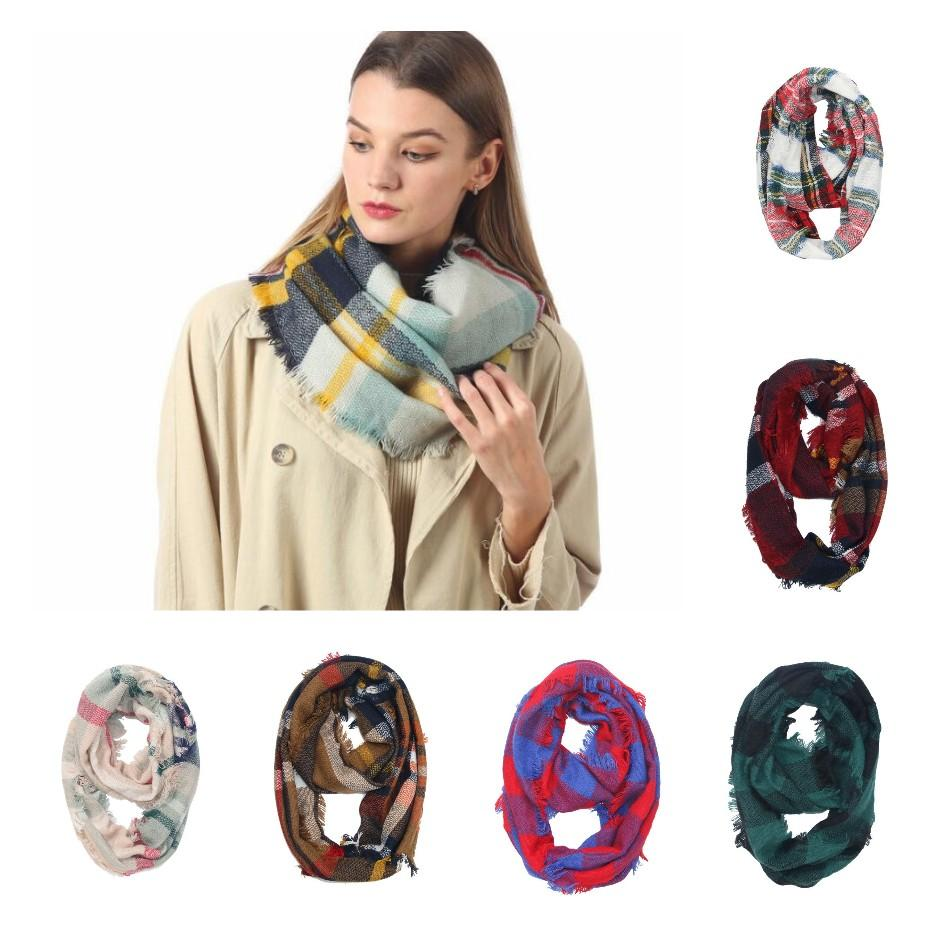 Xadrez anel cachecol 30 cores grade infinito xale envoltório laço cachecol de tricô lenço listrado mulheres lenço 20 pcs ljjo7151