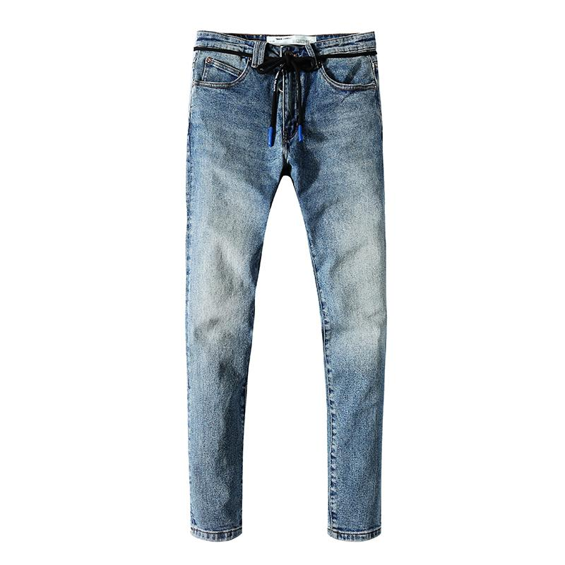 2019 moda pamuklu denim jumper kot erkek önlük jumper boyutu 28-40 # X2 kırık ince siyah mavi kot jumper tasarım Retro