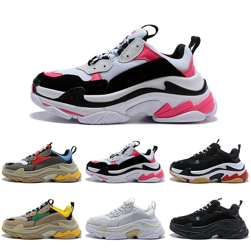 Çorap Sıcak Satış Moda Platformu Üçlü Tasarımcı Erkekler Kadın Ayakkabı Spor Kırmızı Mavi Üçlü Siyah Düşük Eski Baba Vintage Günlük Spor Spor Ayakkabılar ile