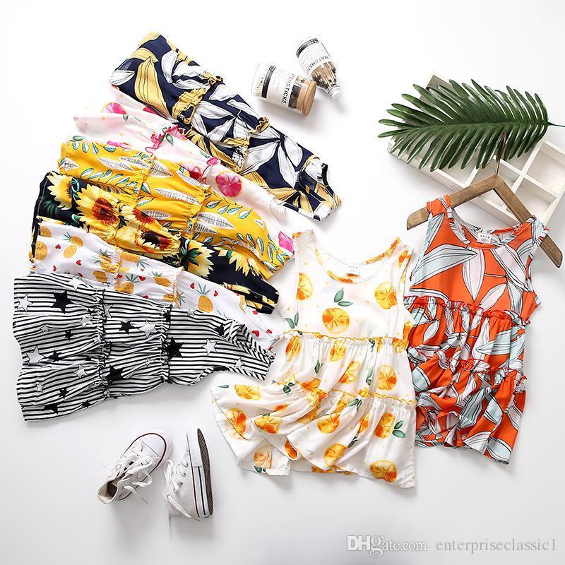 Ropa para niñas y niños Vestido de flores para bebés Ropa de diseñador para niños Niñas Vestido floral Vestido de volantes de pastel Vestidos de playa sin mangas de verano