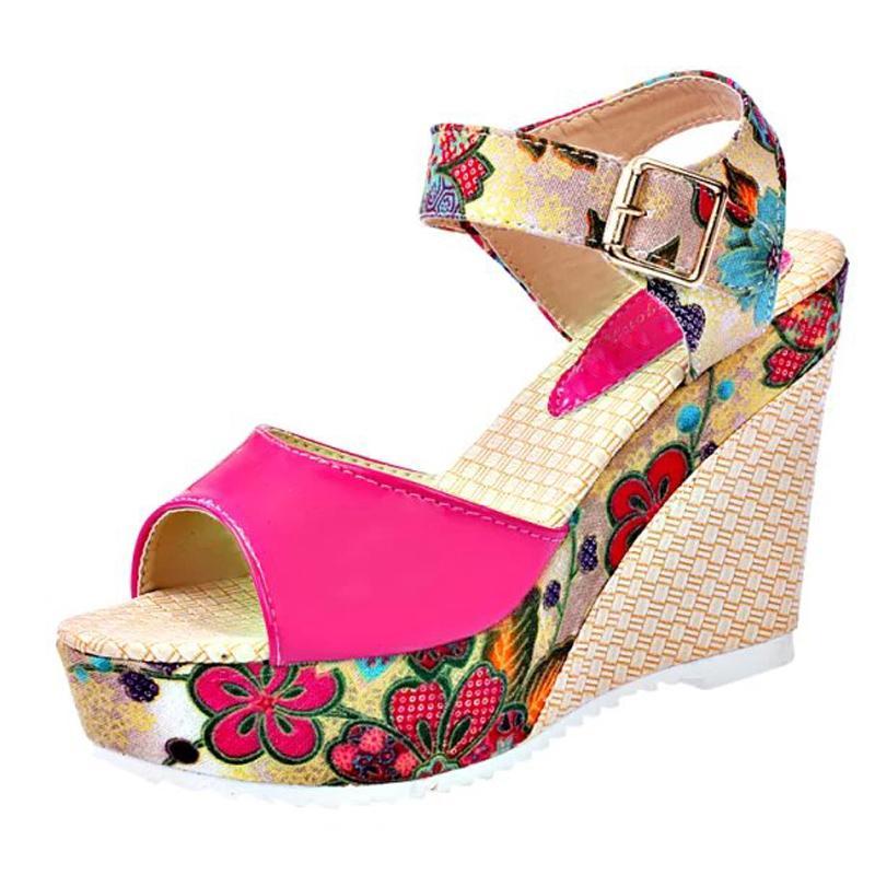 Yaz Platformu Casual Ayakkabı Kadın Çiçek Süper Yüksek Topuklar Açık Burun Terlik Sandalias Kadınlar Sandalet Zapatos Mujer E680 takozlarla