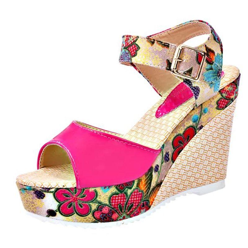 Sommer-Plattform zwängt beiläufige Schuh-Frau Blumen Super High Heels öffnen Zehehefterzufuhren Sandalen Frauen Sandalen Schuhe Mujer E680