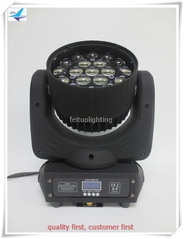 China DJ movers zoom تتحرك الرأس 19 × 10 واط rgbw 4 في 1 DMX 512 Wash Zoom Beam Stage Lighting