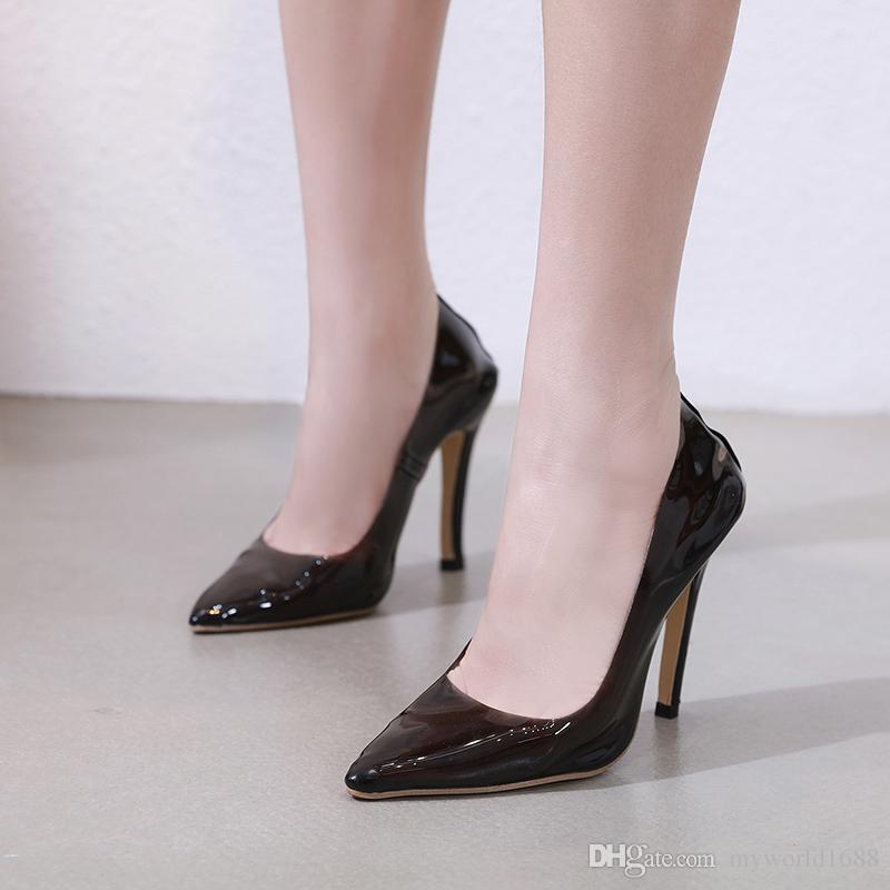 calidad de marca busca lo mejor precios grandiosos Compre 12 Cm Tacones Para Mujer Bombas Negro Tacones Altos Moda Rosa Punta  Estrecha Mujeres Zapatos De Tacón Alto Zapatos De Trabajo Transparentes ...