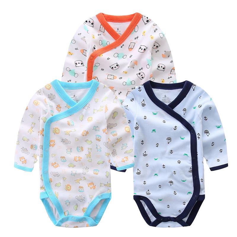 3 Pcs Smiling Babe Brand Baby Romper Long Sleeves Cotton Newborn Baby Girl Boy Clothes Cartoon Printed Baby Clothing Set 0-12 M J190524