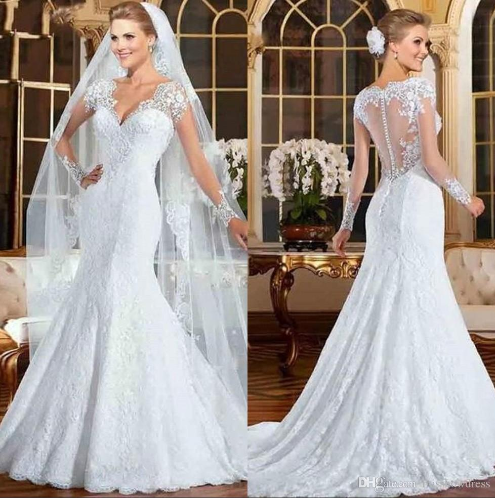 Vestidos de novia 2020 New Modest Long Sleeve Mermaid Wedding Dresses Sexy V Neck Appliques With Button Covered Back Bridal Gowns BC2827