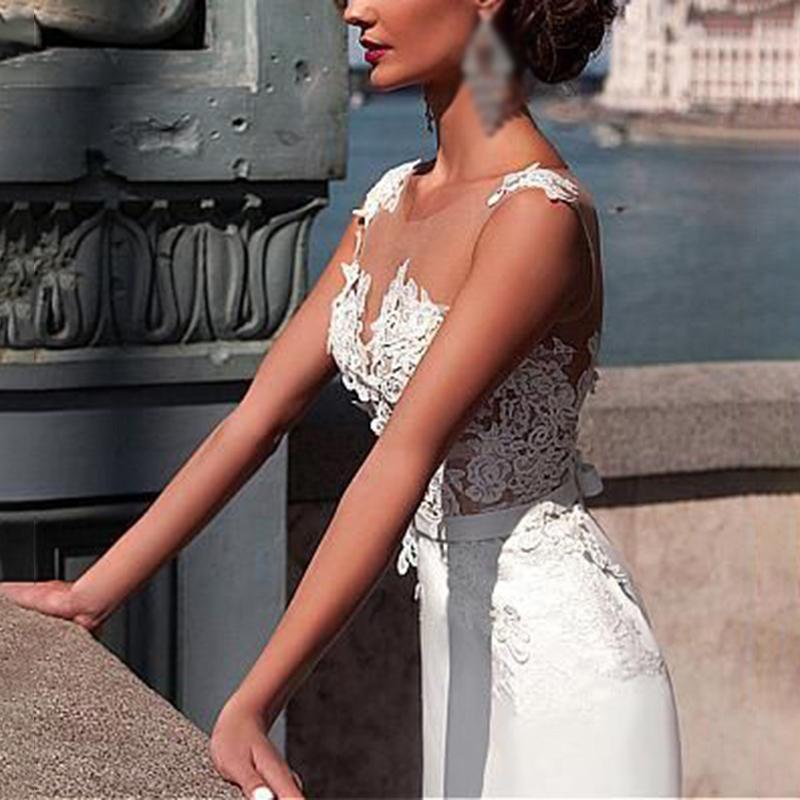 As mulheres agradáveis Branco Perspectiva Lace profunda V-Neck vestido para a festa de casamento até o chão vestido