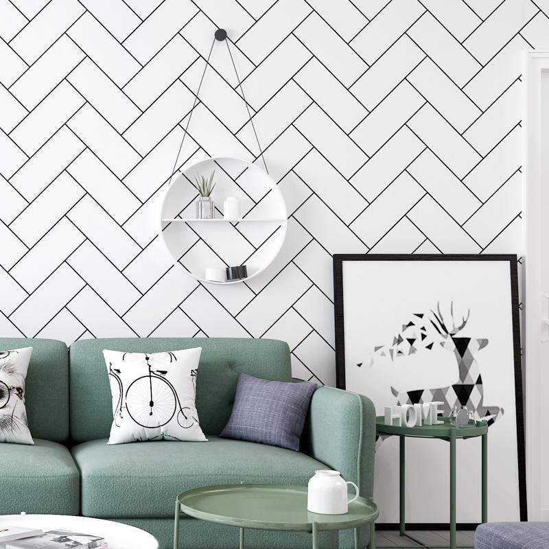 흰색 벽화 북유럽 블랙 장식 벽돌 벽 종이 홈 장식 기능 기하학적 벽지 거실 침실 벽