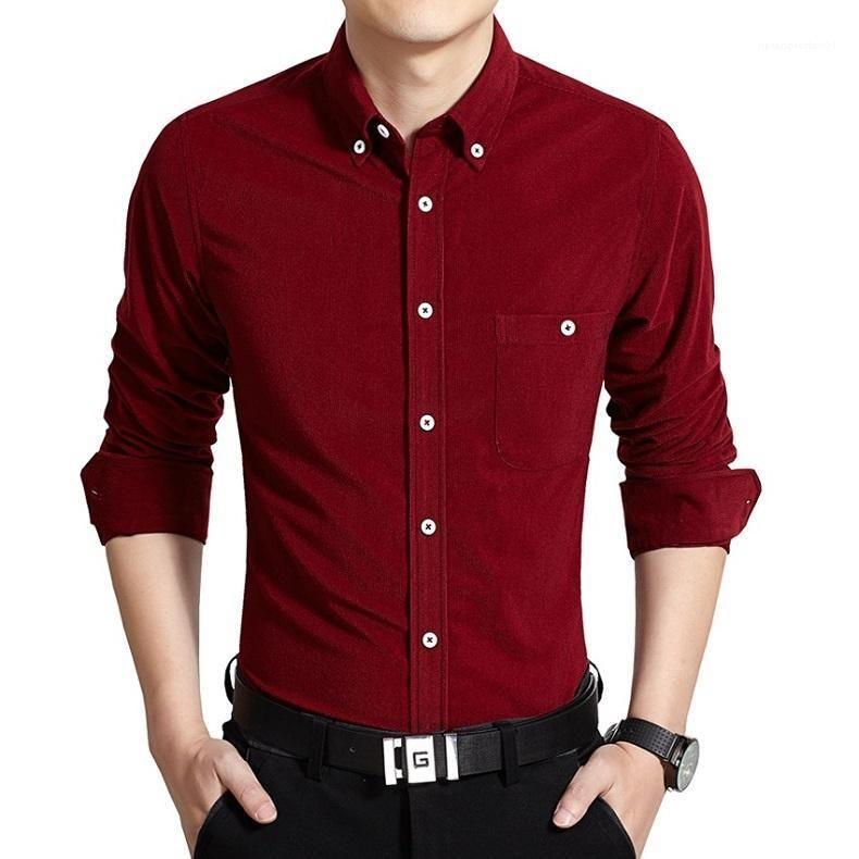 De un solo pecho las camisas sport del diseñador del Mens Camisas de vestir color sólido de manga larga Tops para hombre de negocios